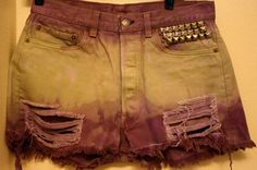 Vintage 90s Upcycled Studded Green and Purple Levis L