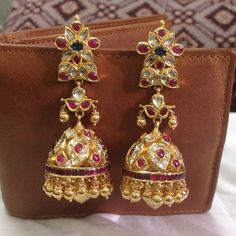 Diamond jewelry collections from Gold Jhumka Earrings, Gold Earrings Designs, Gold Jewellery Design, Gold Designs, Gold Necklace, Hoop Earrings, Bridal Jewelry, Gemstone Jewelry, Diamond Jewelry