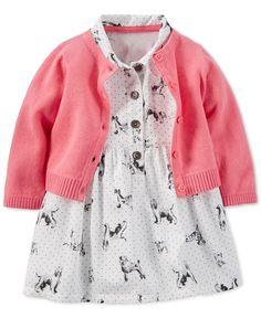 Carter's Baby Girls' 2-Piece Cardigan & Dog-Print Dress Set