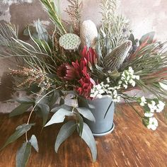 Arrangement of the day Australian Native Garden, Australian Native Flowers, Bridesmaid Flowers, Bridal Flowers, Table Flowers, Flower Vases, Wedding Flower Arrangements, Floral Arrangements, Lotus Pods