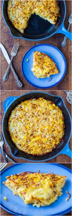 Creamy and Crispy Hash Browns Frittata - Potatoes and eggs in an easy one-skillet meal! Love this easy comfort food recipe!