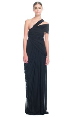 Vionnet | Grecian-inspired georgette jersey gown featuring an asymmetric one-shoulder silhouette and draping throughout
