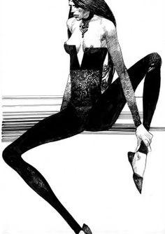 Mauvaise femme 4 dessin original, Sergio Toppi.