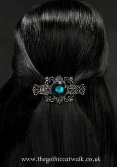 Gothic Victorian Cyan Crystal Barrette Hairclip