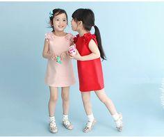 Summer Dress Solid Flower Princess Girls Dresses for Party Girls Summer Clothes