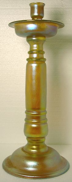 Loetz candlestick, made in 5 pieces, 6.5 x 17 in.