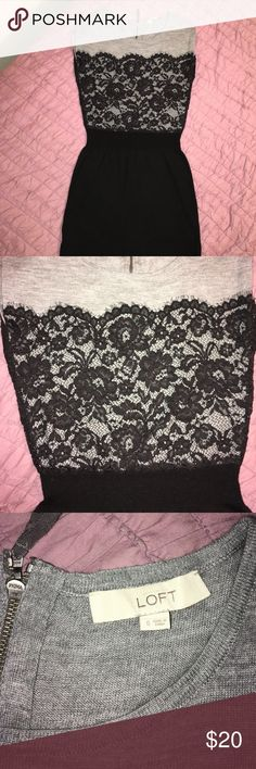 Lace sweater dress from the loft Size small. Form fitting bottom and a little looser on top. Zipper back. Cute for the end of winter while it starts to warm up! Looks adorable with black boots and black tights. If it's colder, wear a long sleeve black shirt underneath. Smoke free home. Good condition. LOFT Dresses Mini