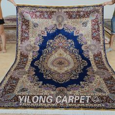 Yilong 6'x9' Top Persian Silk Rugs Medallion Hand Knotted Carpets Hand Made 0722