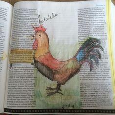 Bijbeljournaling Biblejournaling Craftbijbel Bijbelart Kraaiende haan johannes18