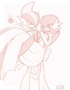 Gallade and gardevoir by enecoo on tumblr