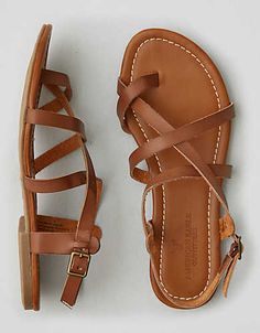 AEO Strappy Sandal , Brown | American Eagle Outfitters