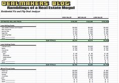 fix and flip free real estate spreadsheet .xls