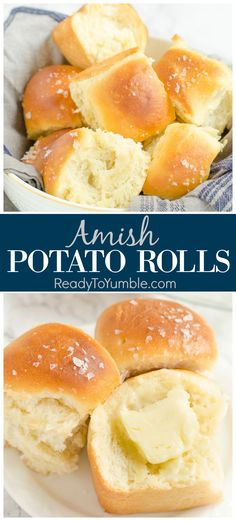 Amish Potato Rolls (MakeAhead is part of Amish bread Holidays - Amish Potato Rolls are the most tender, flavorful rolls you'll ever try, perfect for a holiday feast Bonus you can make the dough the day before! Artisan Bread Recipes, Easy Bread Recipes, Baking Recipes, Potato Recipes, Dutch Recipes, Amish Food Recipes, Recipes Dinner, Simple Bread Recipe, Easy Homemade Bread