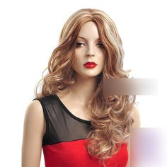 25 Long Wavy Curly Light Brown With Blonde Highlights Synthetic Hair Lady Wigs for Women * This is an Amazon Affiliate link. Check out this great product.