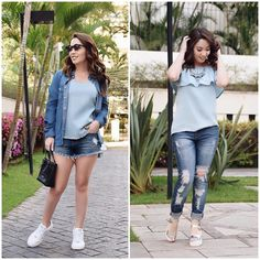 E se você tivesse apenas 7 peças para montar 2 looks jeans??  Fui desafiada pela @Riachuelo para montar dois looks jeans com a nova coleção especial da marca o que acharam? Super adorei participar desse desafio afinal quem não ama um jeans!?  #meujeansrchlo