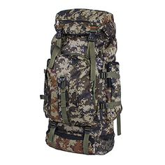 Unisex 65L Camo Montaineers Backpack Outdoor Hiking Backpack Travel Daypack Dark camouflage * Read more  at the image link. (Note:Amazon affiliate link)