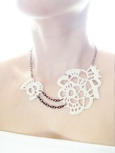 Abstract freeform ivory crochet statement bridal by VALLISTIC -textile jewellery