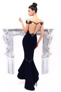 Tarik Ediz- MIRACLE Collection 2017 Fall/Winter Style #93324 Long Navy Evening Gown. Also available in Emerald and Wine.