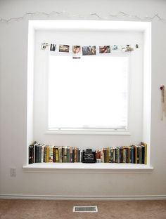 frame a too small window and throw some books n photos in there.