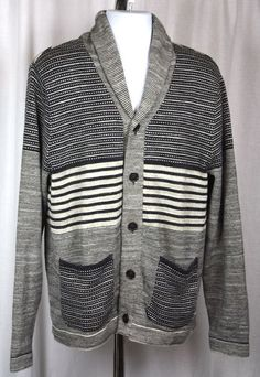 Lucky Brand Mens Button Front Grey Striped Long Sleeve Sweater Size Large NWT #LuckyBrand #Cardigan