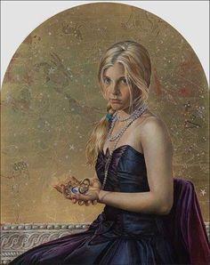 """""""Constellations"""" de Fred Wessel - La Ciencia de los Astros (Astronomía desde casa) """"Giana (Sundial)"""" en la que también se ve a una mujer con otro reloj solar horizontal en la mano o una brújula. Al fondo y en dorado se pueden ver los dibujos de las constelaciones que están basados en el Atlas Coelestis de John Flamsteed."""
