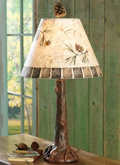 Black Forest Decor- Tree Trunk Lamp with Pinecone Shade