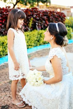Vestido de Noiva feito sob medida - Noiva (Mãe e Filha) Ana Emilia e Sophia - Renda Guippir - Laçarote - Catalão GO