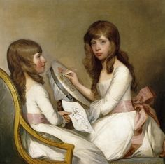 Anna Dorothea Foster and Charlotte Anna Dick Gilbert Stuart - tambour embroidery, a fad (compare the Zoffany portrait of the Ladies Waldegrave). Early dresses are pretty indistinguishable from Jane Austen, Gilbert Stuart, Creepy Kids, Creepy Children, Art Children, Tambour Embroidery, Images Vintage, Social Art, Sewing Art