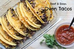 We love tacos. The boys devour them. They love the crunchy mess. They love Tacos. We love tacos. The boys devour them. They love the crunchy mess. Baked Fish Tacos, Oven Tacos, Baked Chicken Tacos, Rotisserie Chicken Oven, Oven Baked Chicken, Mexican Food Recipes, Beef Recipes, Dinner Recipes, Dinner Ideas
