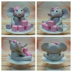A Baby Elephant Cake Topper for a Baby Shower Cake