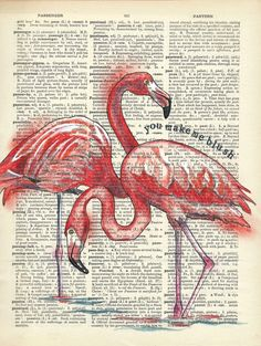 Quirky colourful mixed media illustrations, often repurposing old dictionaries and maps. Old Book Art, Old Book Pages, Yin Yang Art, Flamingo Painting, Book Wall, Dictionary Art, Mixed Media Artwork, Color Pencil Art, Sketch Painting