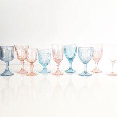 #vintage glassware Color combo!! #rosequartz and #serenity in honor of @pantone #ColoroftheYear