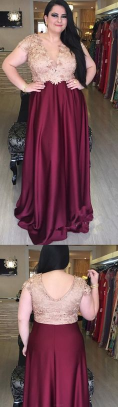 Applique Prom Dresses, Burgundy A-line/Princess Prom Dresses, Long Burgundy Prom Dresses, Burgundy Plus Size Prom Dresses V-neck Sexy Satin Floor-length Prom Dress Plus Prom Dresses, Senior Prom Dresses, Princess Prom Dresses, V Neck Prom Dresses, Prom Dresses Long With Sleeves, Formal Evening Dresses, Plus Size Dresses, Sleeve Dresses, Dress Prom