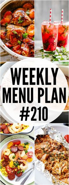WEEKLY MENU PLAN ( - A delicious collection of dinner, side dish and dessert recipes to help you plan your weekly menu and make life easier for you! Healthy Low Calorie Meals, Healthy Recipes, Healthy Eating, Ww Recipes, Fall Recipes, Weekly Menu Planning, Meal Planning, Dessert Recipes, Dinner Recipes