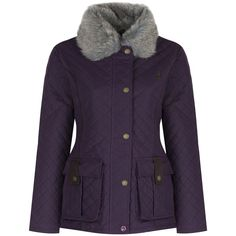 Women's Jack Murphy Charlize Waxed Jacket ($176) ❤ liked on Polyvore featuring outerwear, jackets, waxed cotton jacket, purple jacket, quilted jacket, waxed jackets and fur collar jacket