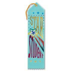 "Pack of 6 Light Blue ""Star Student"" Jeweled School Sports Award Ribbon Bookmarks 8"