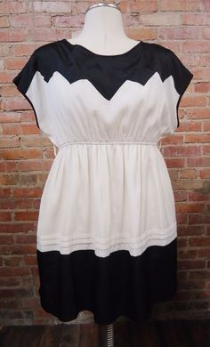 CIEL USA Ivory & Black Colorblock Color Block Lightweight Party Dress Sz Large #CielUSA #TeaDress #Cocktail