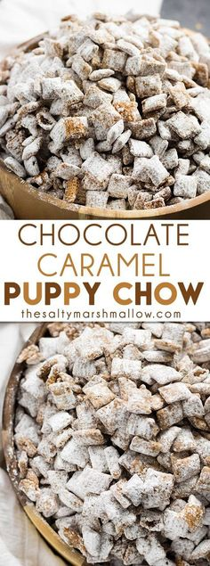 Sweet Tooth Baking/Candy/Desserts Chocolate Caramel Puppy Chow - an easy and tasty twist on the original! This puppy chow is packed with chocolate caramel flavor! Oreo Dessert, Low Carb Dessert, Puppy Chow Recipes, Snack Mix Recipes, Snack Mixes, Recipe Puppy, Chex Recipes, Shrimp Recipes, Pasta Recipes