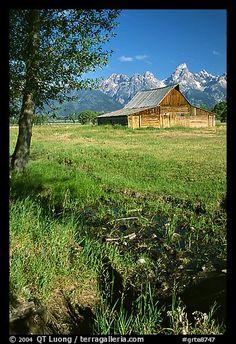 Pasture and historical barn at the base of mountain range. Grand Teton National Park, Wyoming, USA.