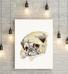 Grumpy Pug Puppy Sketch / Wall Art / Poster (A3 & A2) Available at AmbitiousMe