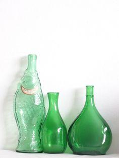 Vintage Green Bottles by LesTempsPerdus on Etsy