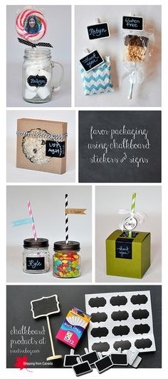Chalkboard Fun! Chalkboard Signs & Stickers for Favor Bags for all occasions! #chalkboard #diy #craft