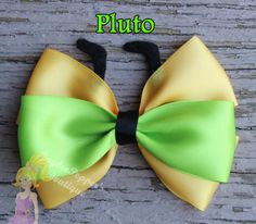 Pluto hair bows disney inspired hair clip girls yellow gold lime dog ears Pluto hair bows disney ins Mickey Y Minnie, Mickey Ears, Disney Diy, Disney Crafts, Ribbon Bows, Ribbon Flower, Ribbon Hair, Fabric Flowers, Ribbons