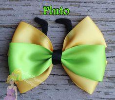 Pluto hair bows disney inspired hair clip girls yellow gold lime dog ears