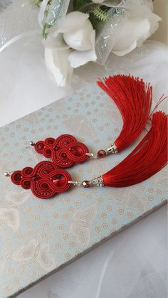 Red Tassel Earrings Swarovski Earrings Birthday Gift For Her Soutache Earrings, Red Earrings, Tassel Earrings, Bead Embroidery Jewelry, Fabric Jewelry, Diy Tiara, Earrings Handmade, Handmade Jewelry, Unique Gifts For Women