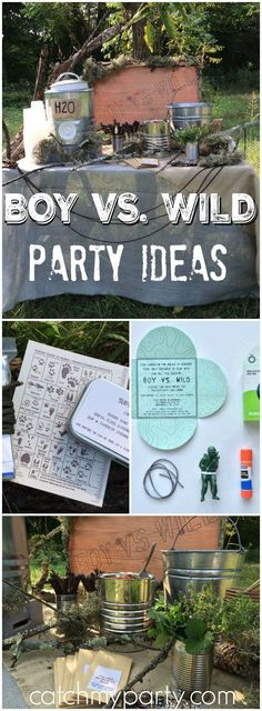 Here's a Boy vs. Wild party where they defeated the daunting wilderness! See more party ideas at CatchMyParty.com!