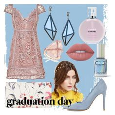 """Pastel grad"" by maisiejs ❤ liked on Polyvore featuring Issey Miyake, Chanel, Lime Crime, Color Club, Jennifer Behr, Ivanka Trump and Dune"
