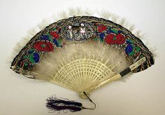 Fan Made Of Feather And Ivory - Japanese    c.1886