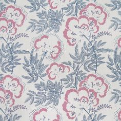 Cloud Garden Fabric from Rapture & Wright. A pretty floral fabric in indigo and peony, hand printed onto soft antique linen.