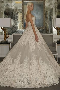 Romona Keveza lace strapless wedding gown